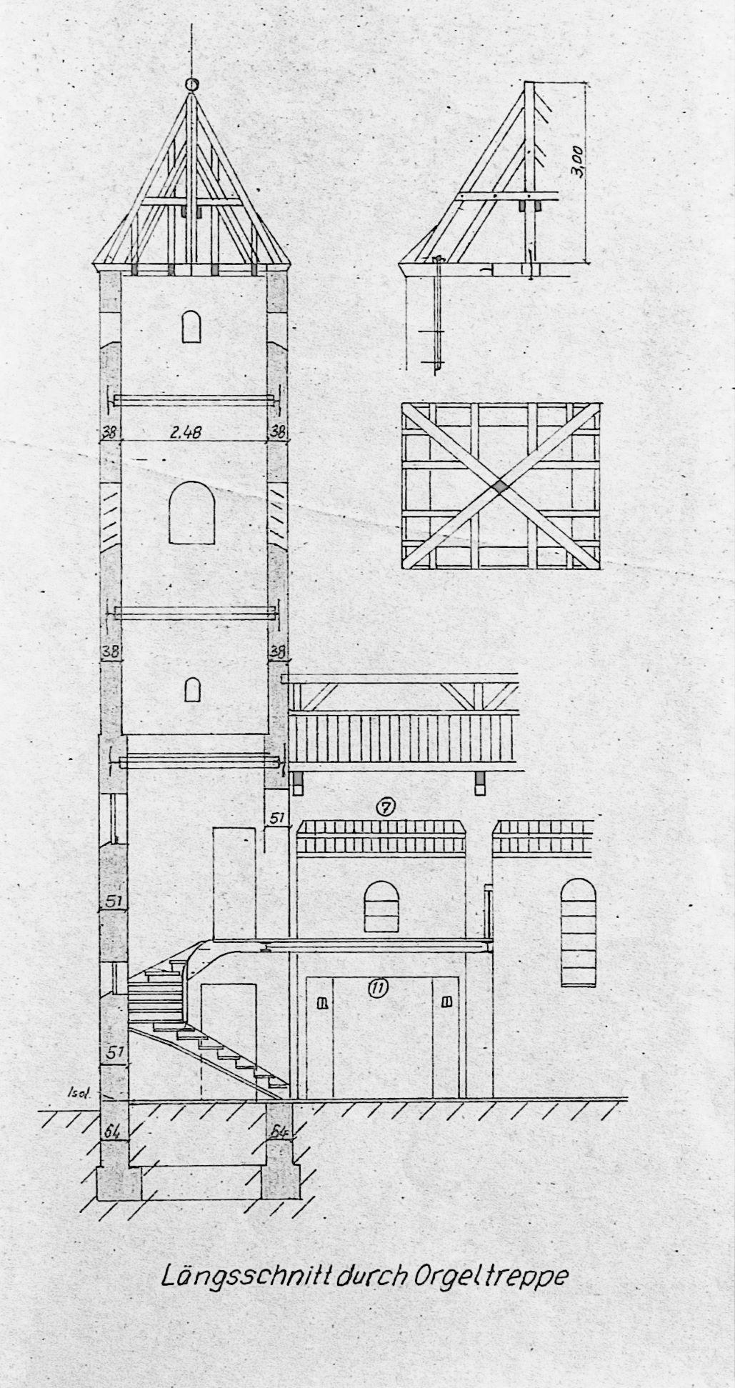 Ausschnitt aus dem Entwurf Kühns; Quelle: Pfarrarchiv St. Elisabeth