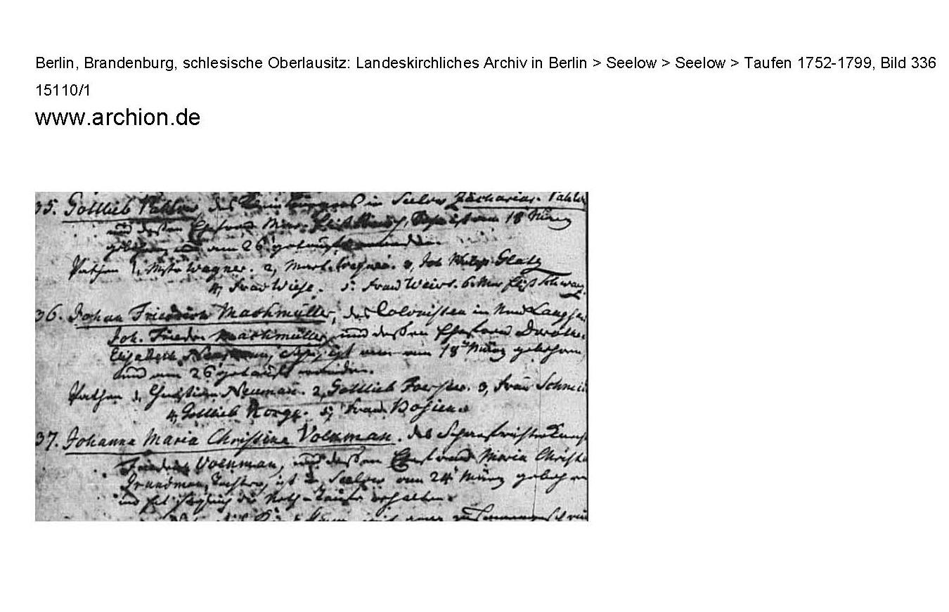 Geburt Johann Friedrich Machmüller 1797; Quelle Archion Originalscann